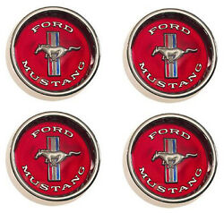 New 1965 - 1966 - 1967 Mustang Style Steel Wheel Hub Caps Set Of 4 Red Center