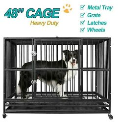 48 Heavy Duty Dog Cage Crate Kennel Pet Playpen Metal W/ Tray And Wheels Portable