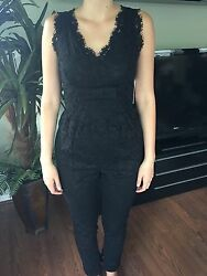 New Valentino Sexy Lace Black V-neck Jumpsuit Sz It40 Us 4 Sold Out Rare 4670