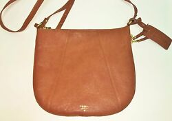 FOSSIL GWEN TOP ZIP SADDLE BROWN LEATHER CONVERTIBLE CROSSBODYHAND BAGPURSE