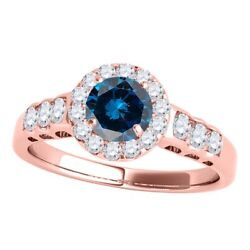 1.50 Ct. Halo Blue Diamond Engagement Ring In 14k Solid Gold For Woman Best Gift
