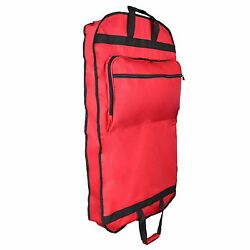 39 Business Garment Bag Cover Suits Dresses Clothing Foldable Pockets Red