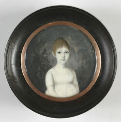 Portrait Of A Little Girl, High Quality French Miniature, Ca.1800