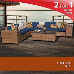 Tuscan 9 Piece Outdoor Wicker Patio Furniture Set 09b 2 for 1