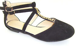 New Black Women#x27;S Ankle Strap with zipper Casual Slip On Ballet Flat Shoes 5 10 $13.88