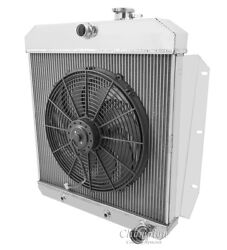 1955 1956 1957 1958 1959 Chevy Pickup 3 Row Core Rr Radiator And 16 Fan Combo