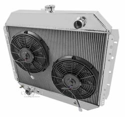 1966-79 Ford F-series 1978-79 Bronco 2 Core Rr Radiator 12 Fans V8 Eng