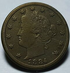 1884 United States Liberty 'v' Nickel - 'au' About Uncirculated