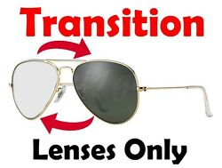 TRANSITION GREY RB3025 Aviator Anti Glare Replacement Lenses Ray Ban 55 58 62mm