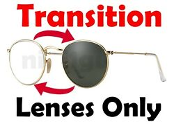 TRANSITIONS GREY RB3447 Round Metal Anti Glare Replacement Lenses Ray Ban 50mm