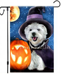 Westie Dog painting West Highland White Terrier GARDEN FLAG ART HALLOWEEN AUTUMN