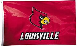 Louisville Cardinals 3' X 5' Flag Two Sided Nylon Appliqued Ncaa Licensed
