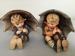 Hummel Umbrella Boy And Girl 5 Tall Excellent Condition
