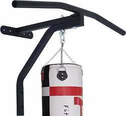 2fit Chin Pull Up Bar With Punch Bag Bracket Wall Mounted Gym Chin Workout Black