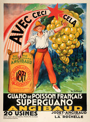 Original Vintage Poster Angibaud Superguano By Galland C1930 French Agriculture