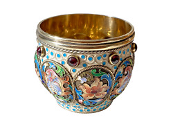 Imperial Russian 84 Silver And Enameled Open Bowl By Feodor Ruckert