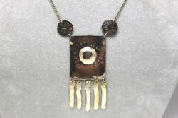 Vintage Native American Motif 14k Yellow Gold Necklace 24 In Length