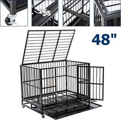 Large 48 Dog Crate Kennel Metal Pet Cage Playpen House W/ Trayandwheel Heavy Duty