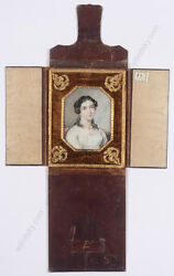 Franz Pitner-attrib. Young Woman In White Dress Fine Miniature 1850/60s