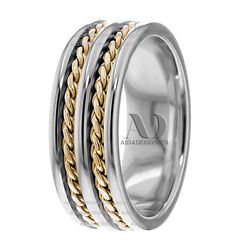 14k Two Tone 8mm Wide Double Twist Ropes Design Handmade Wedding Ring