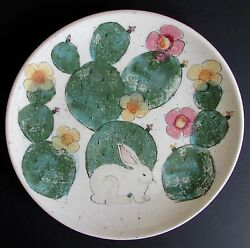 Animals And Co. Santa Fe, Nm Art Pottery Mei Ming Ware Rabbit Plate 11.5
