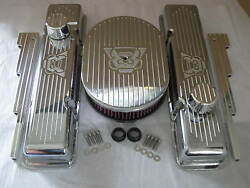 V8 Chevy Small Block Valve Covers 12 Oval Air Cleaner Kandn Filter Breather Pcv