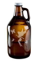 Mystical Fairy And Magic Butterflies Hand Etched 64oz Beer Wine Growler