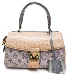 LOUIS VUITTON Limited Edition Ostrich Rose Gold Monogram Comedie Carrousel Bag