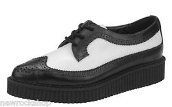 Tuk A8643 T.u.k Shoes Low Sole Creeper Black White Wingtip Brogue Leather Pointe