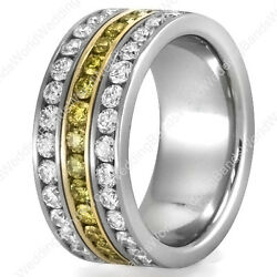 Two Tone Womenand039s Diamond Wedding Band In 14k Gold 1.60 And .80ctw Yellow Diamond
