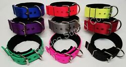 2quot; 3 Ply Black Padded Nylon Heavy Duty Dog Collar for Pit Bull amp; Large Breeds