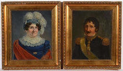 Two Portraits Of An Adult Married Couple, Swedish School, Oil On Canvas, 1820s