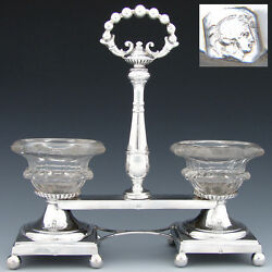 Antique French Sterling Silver Double Open Salt Or Sweetmeat Caddy 1834 - 1847