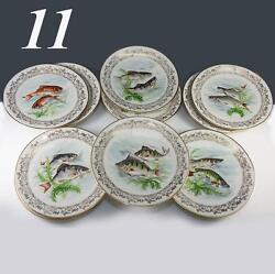 Antique - Vint. Haviland Limoges Set Of 11 Transfer And Painted Fish Plates, 8.5