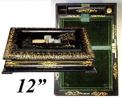 Fine 19th C. Papier Mache Writing Box Slope Hp And Mo Pearl Inlay Decoration
