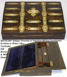 Gorgeous Antique Coromandel And Gothic Bronze, Mother Of Pearl Writing Box, Slope