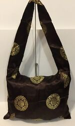 Brown Fabric Shoulder Tote Bag Chinese Design Thin Profile