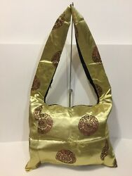 Gold Fabric Shoulder Tote Bag Chinese Design Thin Profile