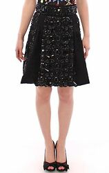 Dolce And Gabbana Skirt Black Crystal Handmade Above Knee S. It42 / Us8 Rrp 16000