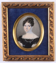 Christoph Frank 1787-1822 Lady In Black Gown Fine Miniature 1821