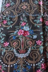 Antique French C1870 Home Dec Cotton Fabric Textile Sampleframe Layout