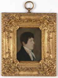 Portrait Of A Young Gentleman, English Oil On Tin Miniature, 1810/20s