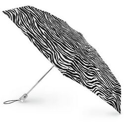 Totes Signature Auto OpenClose Micro 'brella Umbrella Black & White Zebra NEW