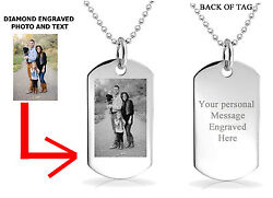 PERSONALIZED CUSTOM PHOTO DOG TAG ENGRAVED JEWELRY NECKLACE PENDANT CHAIN GIFT $12.99