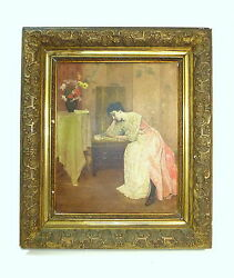 Large Painting In Frame Oil On Canvas Belgium About 1890