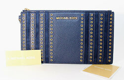 Michael Kors Mini Grommets Leather Large Zip Clutch Wristlet Navy New With Tag $57.59