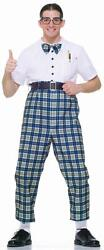 Class Nerd 50and039s Retro Plaid Pants Bow Tie Fancy Dress Up Halloween Adult Costume