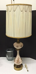 Tall Hollywood Regency Era Pink Etched Milk Glass Lamp Bronze Feet No Shade