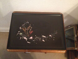 Vintage Mid Century Couroc Of Monterey Ca Tray W/ Abalone Coral And Seaweed Inlay