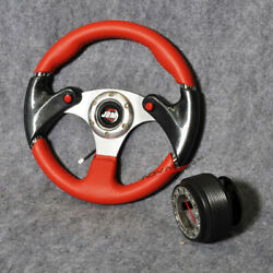 6 Bolt 320mm Pvc Red Racing Steering Wheel Leather + Hub Adapter Jdm Horn